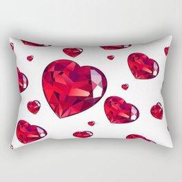 MODERN ART RAINING RUBY RED VALENTINES HEARTS Rectangular Pillow
