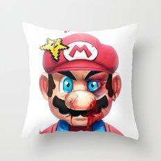 Beat Up Mario Throw Pillow