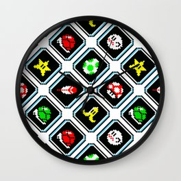 Super Mar!o Kart items | white || vintage retrogaming pattern Wall Clock
