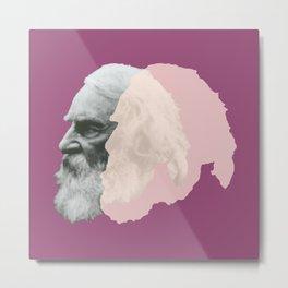 Henry Wadsworth Longfellow - portrait purple and white Metal Print