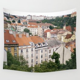 Prague Rooftops Wall Tapestry