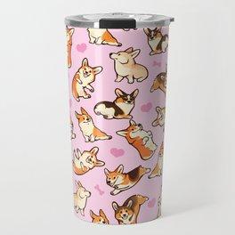 Lovey corgis in pink Travel Mug
