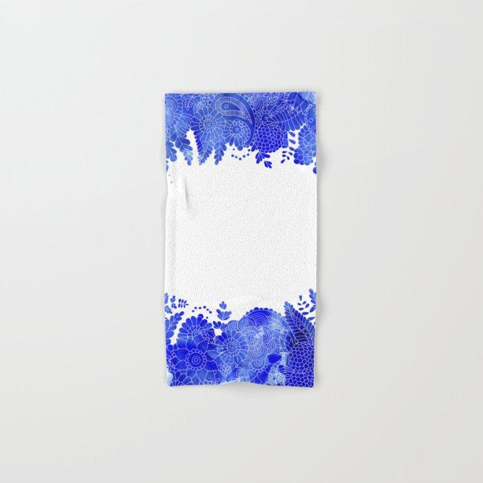 Blue Floral Pattern 04 Hand & Bath Towel