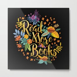 Read More Books - Black Floral Gold Metal Print