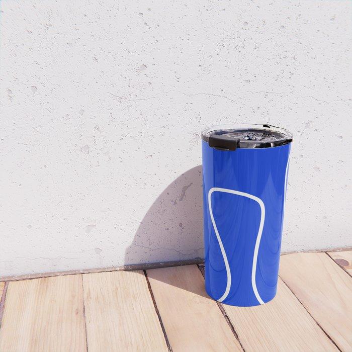 Blue Abstract Wave Travel Mug
