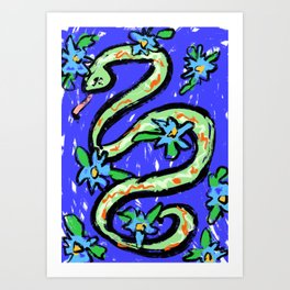 Snake in blue with flowers by Valentine de Gilde Art Print