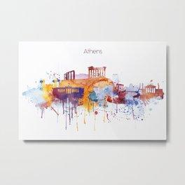 Colorful Athens watercolor skyline Metal Print