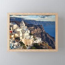 Fira is the capital of Santorini island, Greece Framed Mini Art Print