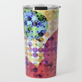 geometric circle pattern abstract background in red pink yellow orange green Travel Mug
