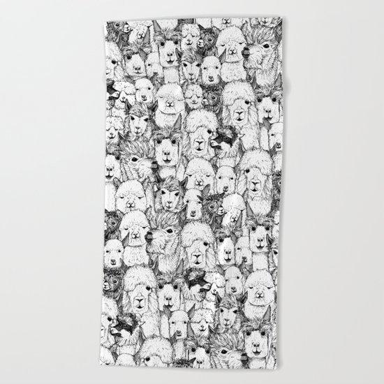 just alpacas black white Beach Towel