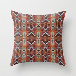 Red Brown Turquoise Orange Native American Indian Mosaic Pattern Throw Pillow