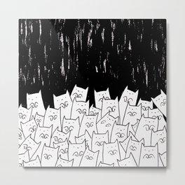 Begging Night Cats Metal Print