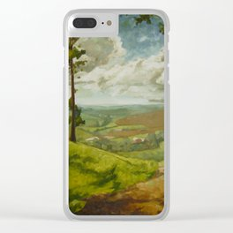 Impressionist Landscape Painting Peaceful Green Nature Countryside Sky Relaxing Clear iPhone Case