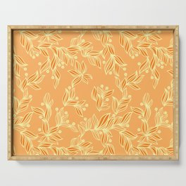 Orange Floral Pattern Serving Tray
