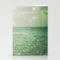 teal Stationery Cards featuring Sea of Happiness by Olivia Joy StClaire
