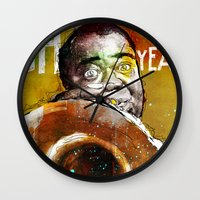 louis armstrong Wall Clocks featuring Louis Armstrong by Ed Pires