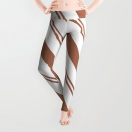 Sherwin Williams Canyon Clay Stripes Thick and Thin Angled Lines Leggings