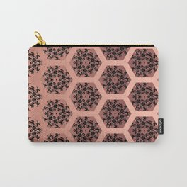 Black and Rose Gold Honeycomb Illusion Graphic Design Pattern Carry-All Pouch