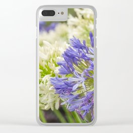 Striking Blue and White Agapanthus Flowers Clear iPhone Case