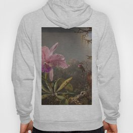 Cattelya Orchid And Three Brazilian Hummingbirds 1 By Martin Johnson Heade | Reproduction Hoody