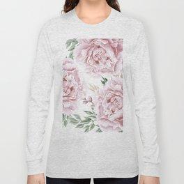 Coral Watercolor Roses Long Sleeve T-shirt