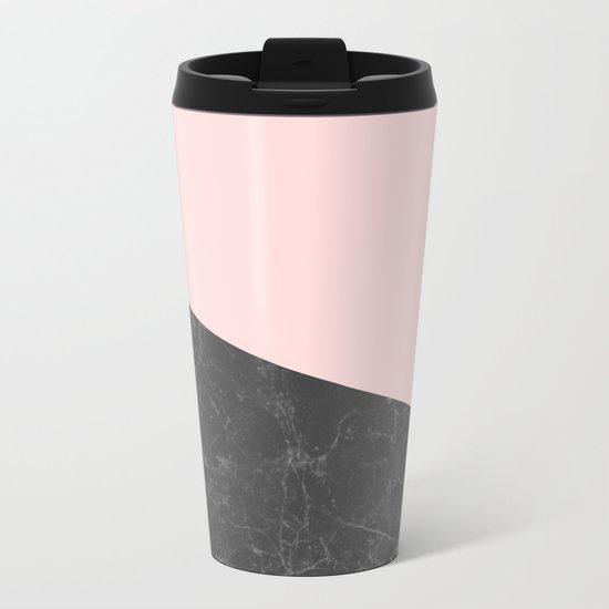 Marble Geometric Blush Pink Gray Black Metal Travel Mug