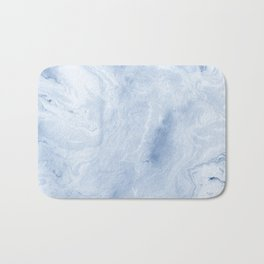 Yasuko - spilled ink japanese monoprint marble paper cell phone case with marble pattern blue pastel Bath Mat