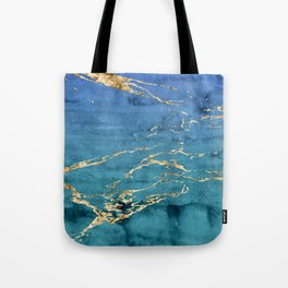 Aqua-Blue Sparse Marble Gradient with Gold Veins Tote Bag