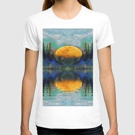 SURREAL RISING GOLDEN MOON BLUE REFLECTIONS T-shirt
