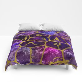 Yoga Asanas in gold on Amethyst Voronoi diagram Comforters
