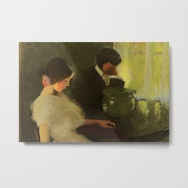 The Tiff, romantic portrait painting by Florence Carlyle  Metal Print