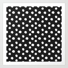Brushy Dots Pattern - Dark grey Art Print