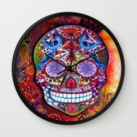 sugar skull Wall Clocks featuring Sugar Skull by oxana zaika