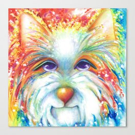 West Highland White Terrier Westie Dog Winston abstract dog art Canvas Print