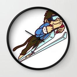 ski jump monkey Wall Clock