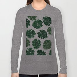 Tropical Hand Painted Swiss Cheese Plant Leaves Long Sleeve T-shirt