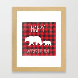 Happy Campers | Home Decor | Mama Bear Decor | Cabin Decor Framed Art Print