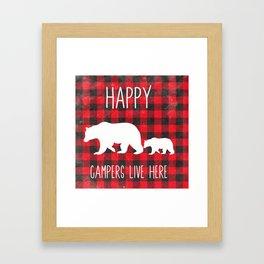 Happy Campers   Home Decor   Mama Bear Decor   Cabin Decor Framed Art Print