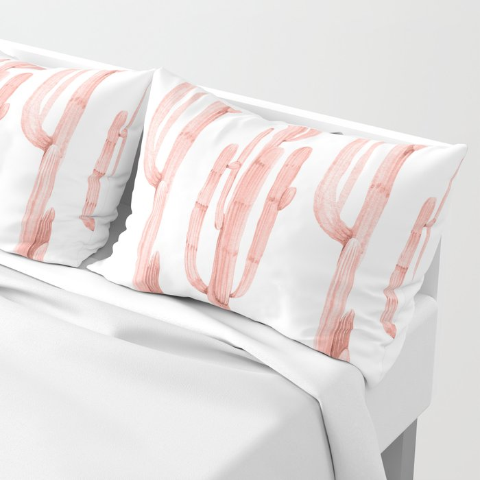 Pretty Coral Pink Cactus Pattern Pillow Sham