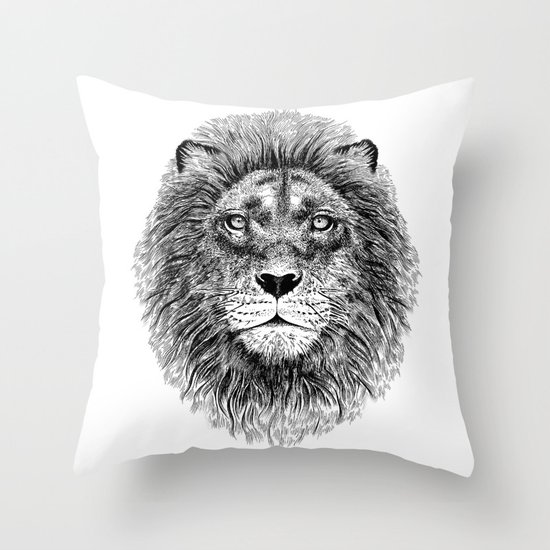 Black+White Lion Throw Pillow