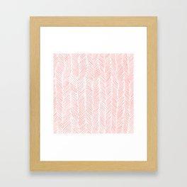 Living Coral Herringbone Framed Art Print
