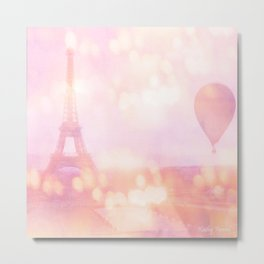 Shabby Chic Pink Eiffel Tower Hot Air Balloon Metal Print
