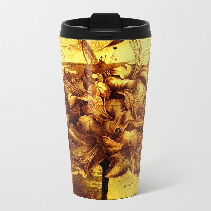 golden flower Metal Travel Mug