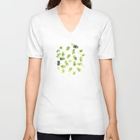 green pattern V-neck T-shirts featuring Green by zAcheR-fineT