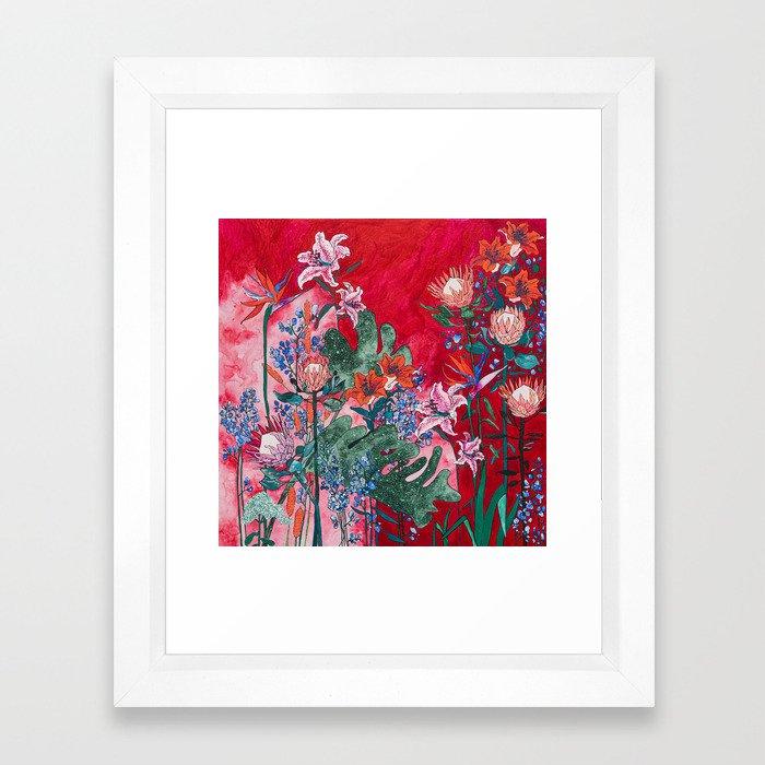 Ruby Red Floral Jungle Framed Art Print