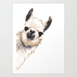 Sneaky Llama White Art Print