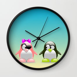 two little penguins Wall Clock