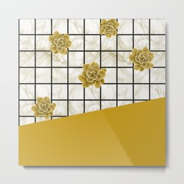 Succulents geometric composition - Yellow Lemon Curry Metal Print