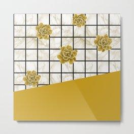 Succulents geometric composition - Yellow Lemon Curry Metal Print