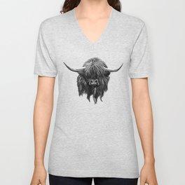 Scottish Highland Cow (bw) Unisex V-Neck